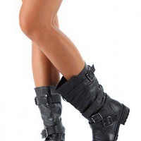 Wild Diva Tina-13A Buckle Riding Boot