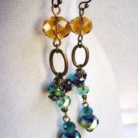 Long Colorful Yellow & Rainbow Crystal Earrings