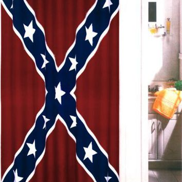 Red Blue and White Rebel Confederate Flag Bath/shower Curtain with Hook