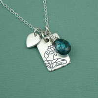 London Blue Lotus Necklace - 925 sterling silver gemstone pendant jewelry - yoga - lotus