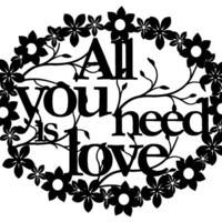 "Paper cut- horizontal version ""All you need is love"" wall decor Valentine's Day perfect gift"