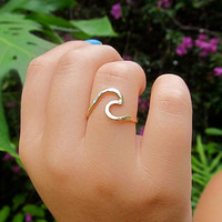 Gold Wave Ring, Surf, Ocean, Hawaii Beach Jewelry, Surfer Girl, Gift Idea, Hammered, Handmade