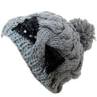 Amazon.com: Gray Knit Cable Braid Beanie Cap With Sequin Bow: Clothing