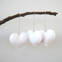 White Heart Eco Felt Ornament  Handmade  Valentine&#x27;s by SweetPB