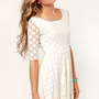 LULUS Exclusive Duke of Twirl Cream Polka Dot Lace Dress