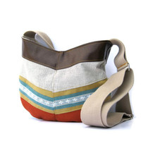 Hobo // Black and White Striped Canvas - Yellow Suede - Teal and Lace Stripe - Rust Wool - Brown Vegan Leather - Crossbody Bag