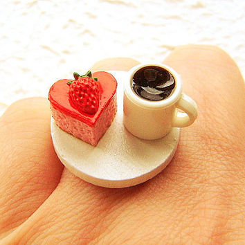 Kawaii Food Valentine Ring Coffee Heart Cake by SouZouCreations