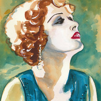 Woman Acrylic Ink Print, Female Painting, 1930s Glamor, Open Edition, Home Decor, 8x10