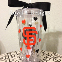 20oz Personalized SF Giants Tumbler with Hearts