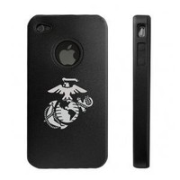 Amazon.com: Apple iPhone 4 4S 4G Black Aluminum & Silicone Case Marines: Cell Phones & Accessories