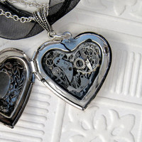 Steampunk Valentine Silver Heart Locket with watch parts
