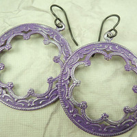 Bohemian hoop earrings, Purple and Silver, Hand painted Natural Brass