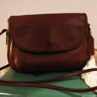 feminine COACH brown leather crossbody bag. small Coach crossbody. sienna brown Coach crossbody. Valentines day gift