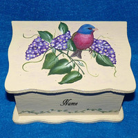 Wedding Box, Decorative Recipe Box, Painted, Wood Box, Wedding Guest Book Box Alternative, Personalized, Wedding Keepsake BOX, Bird
