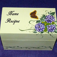 Recipe Box, Hydrangeas, Decorative Wood Box, Hand Painted, Personalized Recipe Box, Wood Box, Bridesmaid Gift