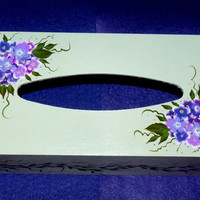 Wood Tissue Box Decorative Wood Box Hydrangeas Wooden Box Hand Painted Housewarming Gift