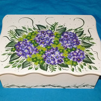 Decorative Wedding Card Box - Wood Wedding Card Box, Hydrangeas, Wedding Keepsake Box, Wedding Gift Card Box, Victorian, Personalized