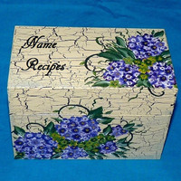 Hand Painted Recipe Box, Wood Recipe Box, Hydrangeas, Decorative Wood Box, Vintage, Purple, Personalized Recipe Box, Distressed