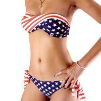 Star Stripe Bikini Swimsuit  from Showmall
