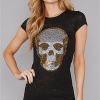 E.Vil Black Burnout Tee with Silver Gold Rhinestone Skull