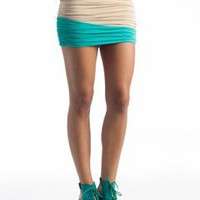 ruched colorblock skirt $27.10 in CORALMULTI ROYALMULTI - Colorblocking | GoJane.com