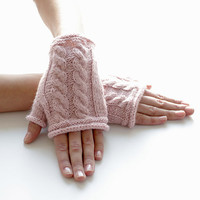 Blush PINK wool/polyamide blend fingerless gloves/wrist warmers - READY to ship