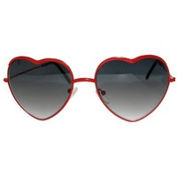 Lolita Heart Shaped Wire Rimmed Sunglasses, Be My Valentine!, in Red