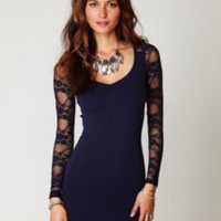 Free People Ginger Long Sleeve Lace Back Tunic in Navy at Free People Clothing Boutique