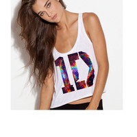 One Direction 1D Logo Crop Tank Top- Galaxy Print