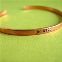 Short Text Skinny Brass Cuff - Spiffing Jewelry