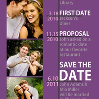 Modern timeline Save the Date  Many color options by PeachPrints