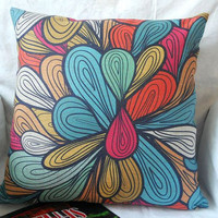 "Abstract colorful pattern Cotton linen square decorative throw pillow case / cushion cover 18 ""x18 """