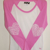 "The ""Dazzle Patch"" Victoria's Secret Baseball Tee - T-Shirt w/Heart Elbow Patch"