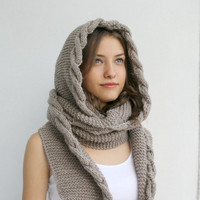 Free Shipping Milky Brown Wool Hooded Cabled  Long Scarf  Cowl Valentines Day gift Under USD100