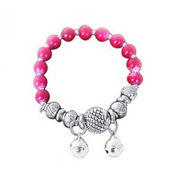 Fashion Elastic Red TurquoiseTibetan Silver Bell Beaded Charm Bracelet at online cheap fashion jewelry store Gofavor