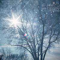 Blue Nursery Art Pastel Sky Falling Snow Bokeh Pearl White Clouds Dreamy Twinkle Star burst -Christmas -Winter Scene Fine Art Photography