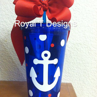 16oz Blue Anchor Tumbler  with Polka dots