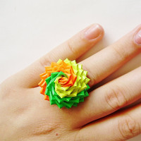 Citrus Swirl Duck Tape Rose Ring Neon Yellow by QuietMischief