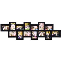 XSJ213 ADECO 14-opening Wooden Wall Black Collage Photo Picture Frame Wall Art Home Decor, Holds Ei