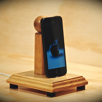 "The ""Lowercase i-Dock"" wooden docking stand for iPhone, iPad, iPod touch and iPad mini"