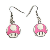 Pink Mario Earrings Mushrooms Gaming by KitschBitchJewellery