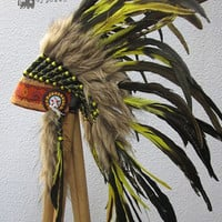Neon Yellow into Black Feather Headdress Gypsy Silk : Paradise Carnival Collection
