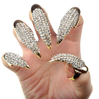 Rhinestone Claw Rings-Gold
