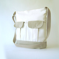 Ivory Beige Canvas Natural shoulder bag with 2 front  by BagyBag