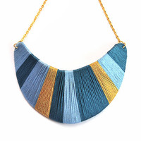 Teal and gold bib necklace with stripes,wrapped cotton thread, colorblocking