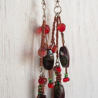 Lampworked Glass Copper Wrapped Red &amp; Green by VenganzyJewelry