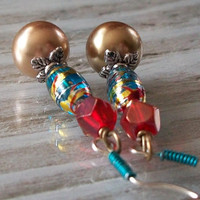 Paint Splatter Turquoise Red &amp; Gold Earrings by VenganzyJewelry