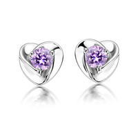 Super flash Swiss Diamond Amethyst stud&earring