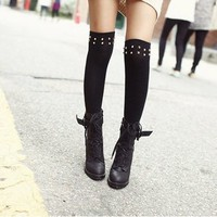 Studded Thigh High Socks from Jinx Me