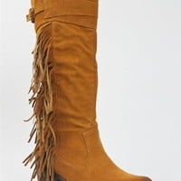 Qupid MARISKA-15 Side Fringe Slouchy Buckle Knee High Low Mid Stacked Heel Western Cowboy Boot ZOOS